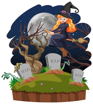 Witch with tomb cartoon style isolated on white background