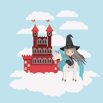 Witch with unicorn in the clouds and castle