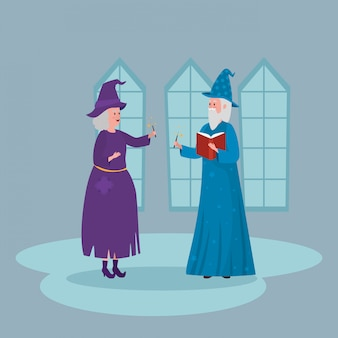 Witch with wizard in castle