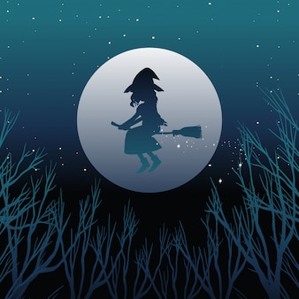 Witch or wizard riding broomstick in silhouetteon the sky isolated on sky background