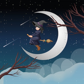 Witch or wizard riding broomstick on the sky isolated on sky background