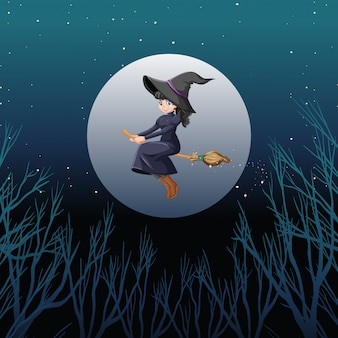 Witch or wizard riding broomstick the sky isolated on sky background