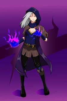 보라색 불 캐릭터 디자인을 가진 마녀 여자