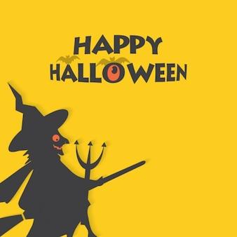 Felice cartellino giallo strega di halloween