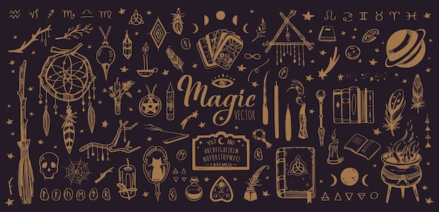 孤立したオカルトイラスト付きの魔術と魔法のヴィンテージコレクション