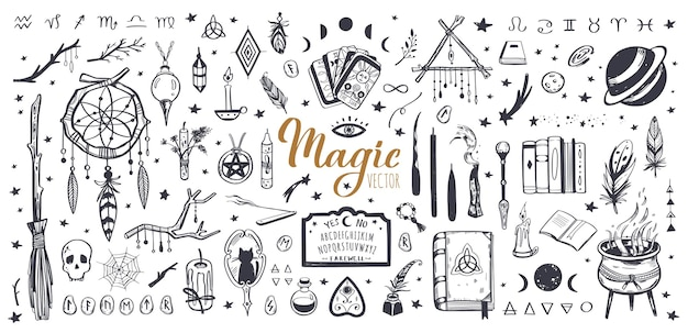 격리 된 위카 일러스트와 함께 마법과 마법의 빈티지 컬렉션