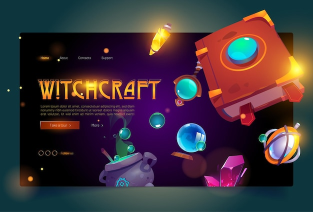 Witchcraft banner with book of spell and cauldron