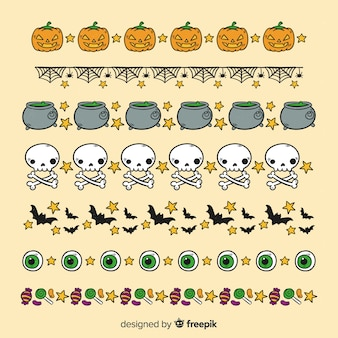 Witchcraft elements for halloween border collection