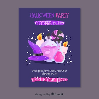 Witchcraft elements halloween party flyer