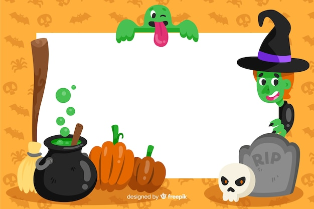 Witchcraft frame of halloween background