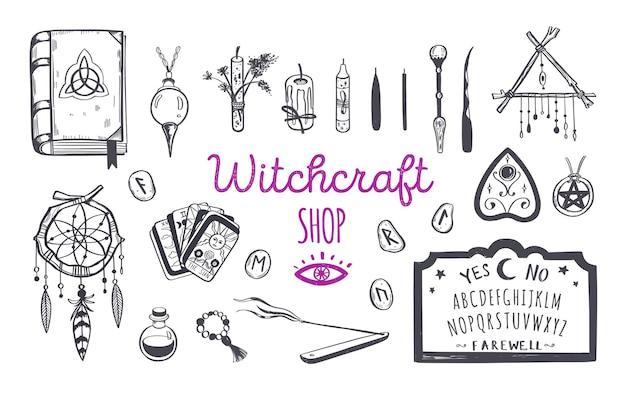 Колдовство, магический магазин для ведьм и волшебников. викка и языческие традиции. Premium векторы