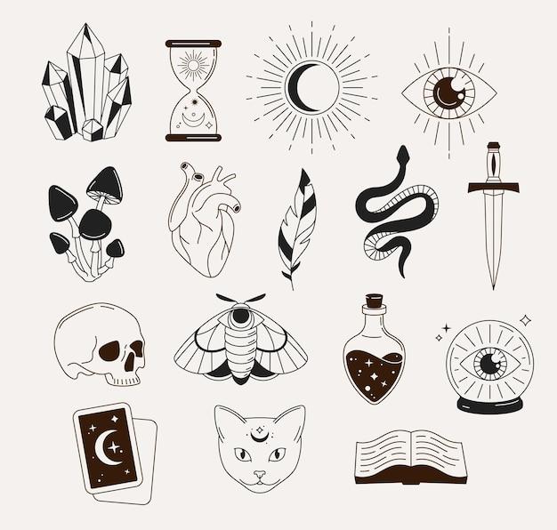 Колдовство, мистические, астрологические, эзотерические, магические предметы, значки, элементы и символы