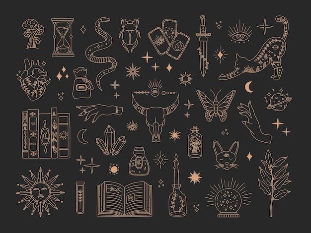 마법의 신성한 빅 세트, 신비한 마법의 상징 골드 라인 컬렉션, 모던 보헤미안 스타일 프리미엄 벡터