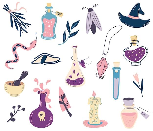 마법 세트입니다. 물약, 사악한 눈, 수정, 뱀, 양초, 나방이 있는 병. 큰 손은 마법의 밀교 기호 컬렉션을 그립니다. 문신, 섬유, 카드, 할로윈 장식용. 벡터 만화 일러스트 레이 션