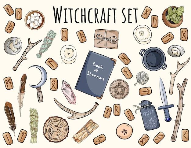 마법 세트. 오컬트 의식을위한 wiccan 마법 아이템 낙서 컬렉션. 손으로 그린 이교도 요소 컬렉션.