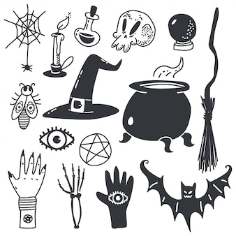 Witchcraft symbols for halloween. magic cartoon icons set isolated on white.