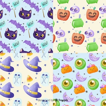 Witchcraft in watercolour halloween pattern collection