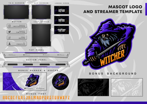 Witcher mascot logo and twitch overlay template