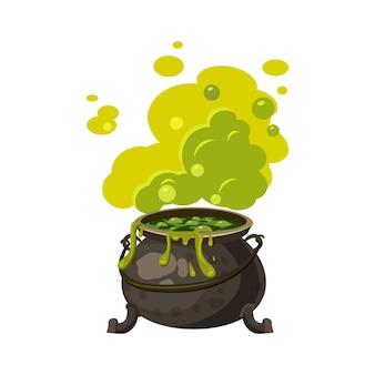 Ведьмовой котел, чайник с ядовитым дымом, пар, кипит, праздничный атрибут всех святых хэллоуин