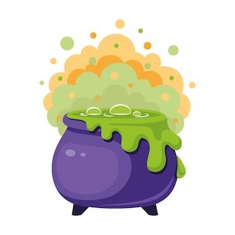 ハロウィーンのための緑のポーションと蒸気で大釜を魔女。漫画のベクトル図