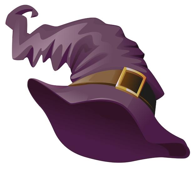 Шляпа ведьмы. аксессуар для маскарада на хэллоуин. изолированные на белом иллюстрации шаржа