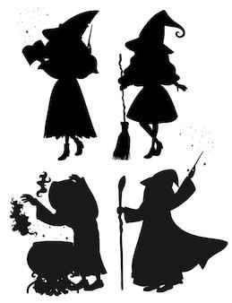 白い背景の上のシルエットの漫画のキャラクターの魔女