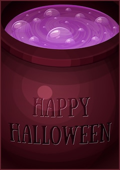 Witches pot potion halloween poster halloween cardposter