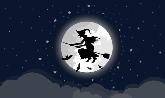 魔女は雲が下にある大きな月を通ってほうきに乗る