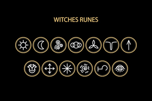 Witches runes icons.  can be used for a site with fortune telling, predictions, magic.