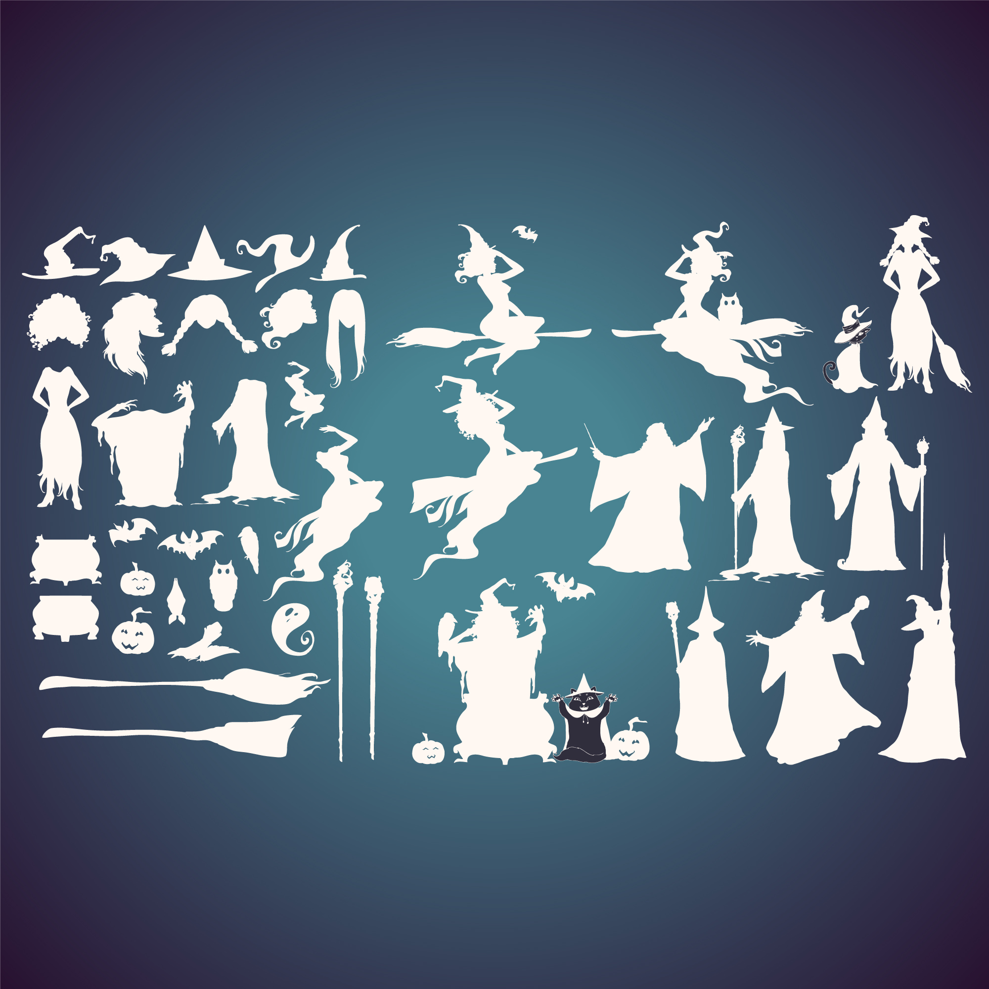 Witches silhouettes collection