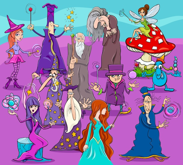 Witches and wizards cartoon characters group