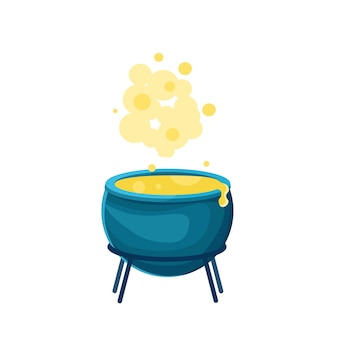 Witchs cauldron with a potion vector cartoon illustration boiling potion