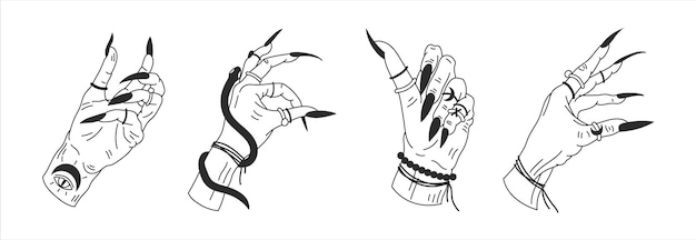 Witchs hands in different positions mystical graphic outline illustration