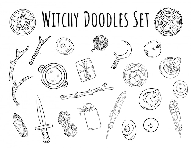 Witchy doodles set.
