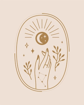 Witchy hands celestial illustration in boho style design on light beige background illustration
