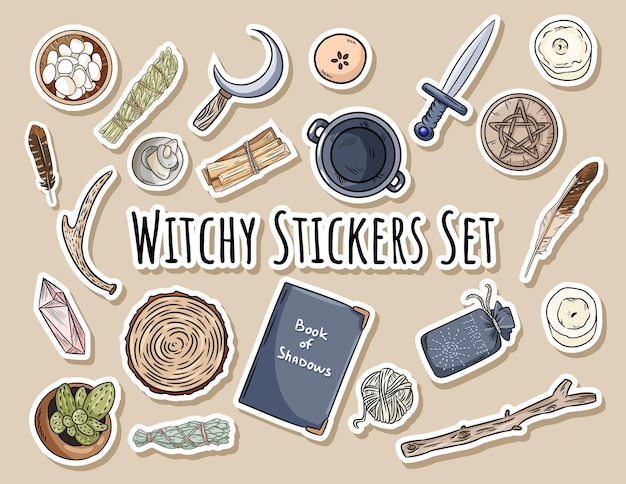 Witchy stickers set. collection of wiccan witchcraft magical items for occult rituals. hand drawn pagan doodles elements.