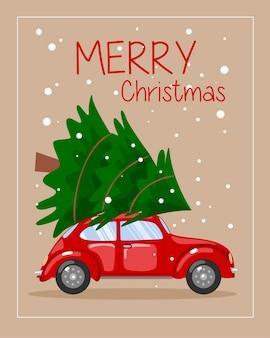 車とクリスマスツリーが屋上にあります。はがき、テンプレートに適しています