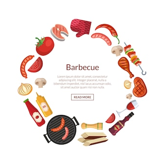 With barbecue, grill or steak cooking elements in circle with place for text in center