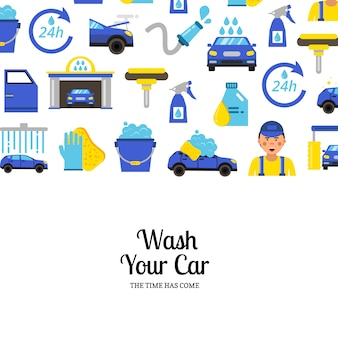 With car wash flat icons and place for text