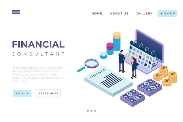 With the concept of isometric landing pages and web headers