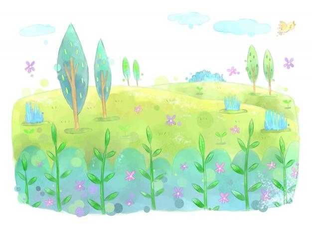 緑の木々の花の庭の風景イラスト。