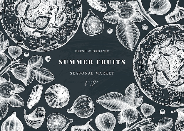С рисованной эскизы инжира на доске. винтажная рамка с ботанической иллюстрацией ветви инжира, свежих и сушеных фруктов, выпечки торта. ретро шаблон с элементами летней еды.
