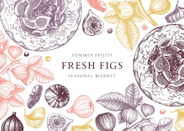 С рисованными эскизами инжир. винтажная рамка с ботанической иллюстрацией ветви инжира, свежих и сушеных фруктов, выпечки торта. ретро шаблон с элементами летней еды.