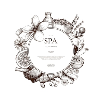 With hand drawn spa illustration  on white. beauty sketch background with natural cosmetics. vintage template with exotic and herbal elements.