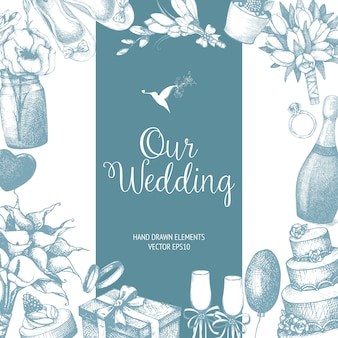 With hand drawn wedding illustration  on white. wedding sketch background. vintage template