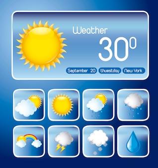 파란색 배경에 아이콘으로 날씨 변화 벡터