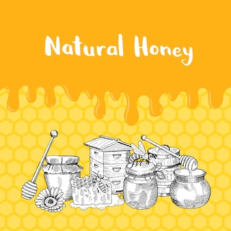 With sketched contoured honey theme elements, dripping honey and place for text on honeycombs