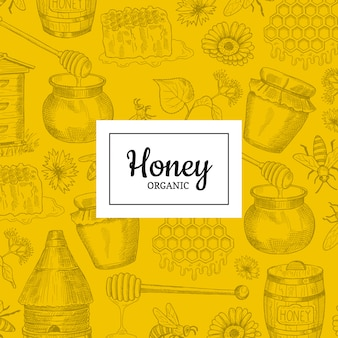 With sketched contoured honey theme elements with place for text. banner and poster nature honey
