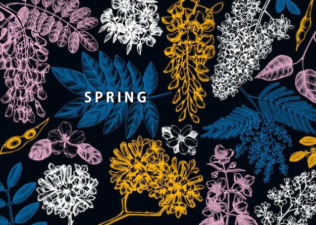 С весенними деревьями в цветах иллюстраций. ручной обращается фон цветущих растений. векторный цветок, лист, ветка, шаблон эскизов дерева. весенняя открытка или поздравительная открытка.