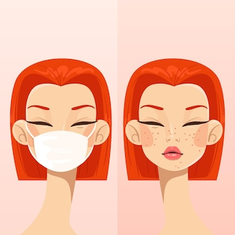 With or without mask illustration